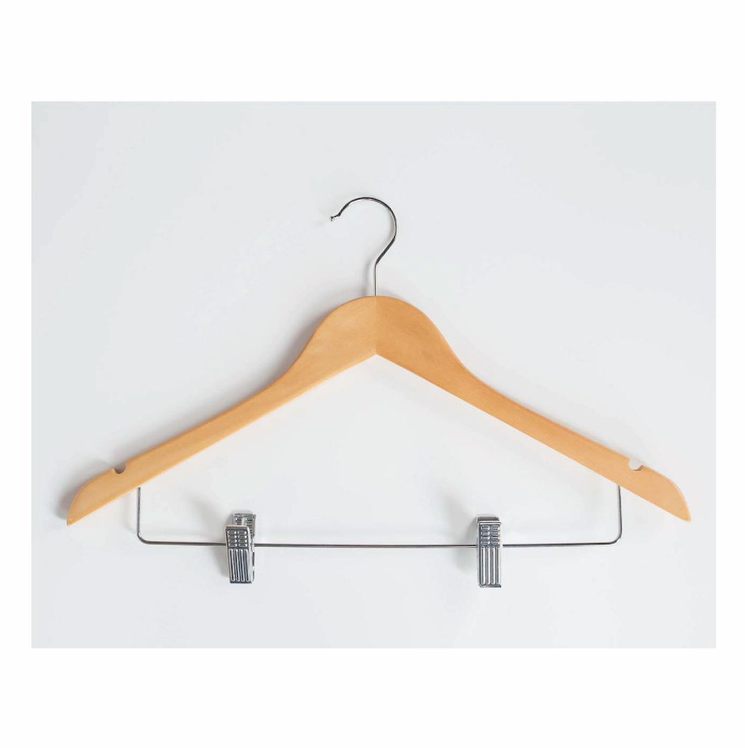 Custom hangers  Made of wood, plastic, with tweezers, for trousers  AMS